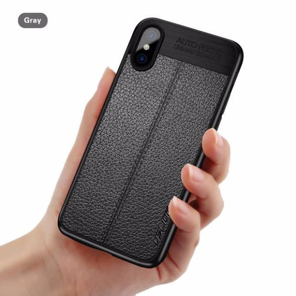 619-Luxury Stitching PU Leather Case Litchi Texture Soft Case For iPhone