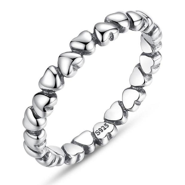 J007-100% Solid Sterling Silver Forever Love Heart Finger Ring Original Jewelry