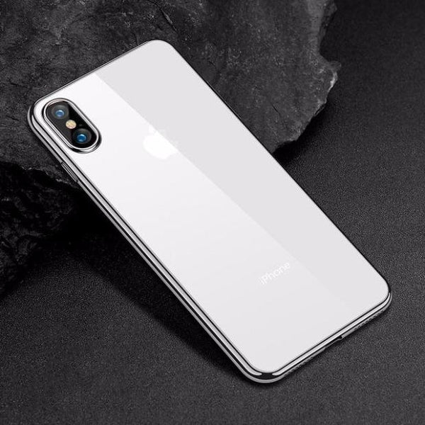 634-Luxury Transparent+Soft TPU Silicone Electroplate Case For iPhone