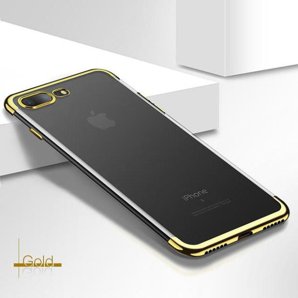 795-Ultra Thin Transparent Plating Shining Case For iPhone