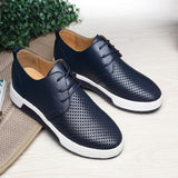 842-Luxury Leather Breathable Holes Flat Shoes