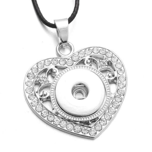 J004-Vintage Crystal Love Heart Snap Button Necklace