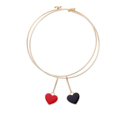 J001-Hot Fashion Gold Enamel Heart Choker Necklace For Valentines Day Gifts
