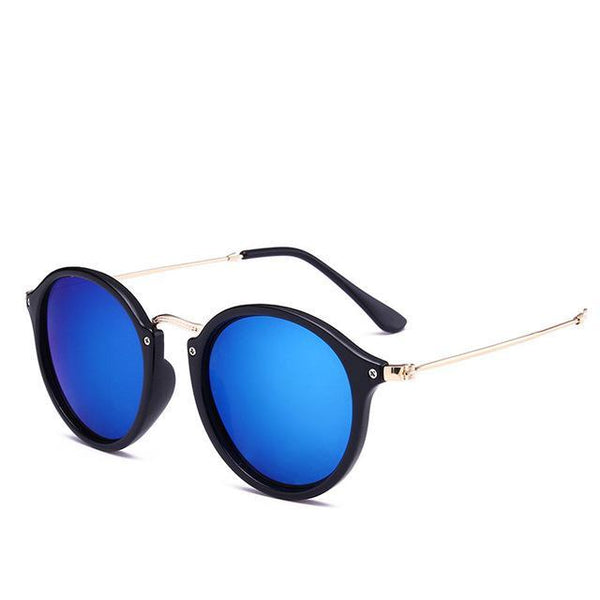 B046-Round Retro Vintage Coating Mirrored Sunglasses