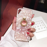 1080-Diamond Ring Conch Shell Phone Case For iPhone