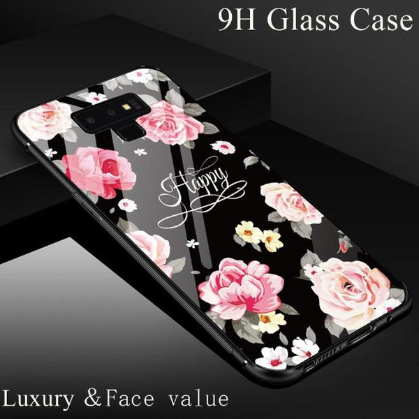994-Luxury Glass Soft TPU Silicone Edge Case For Samsung Note 9