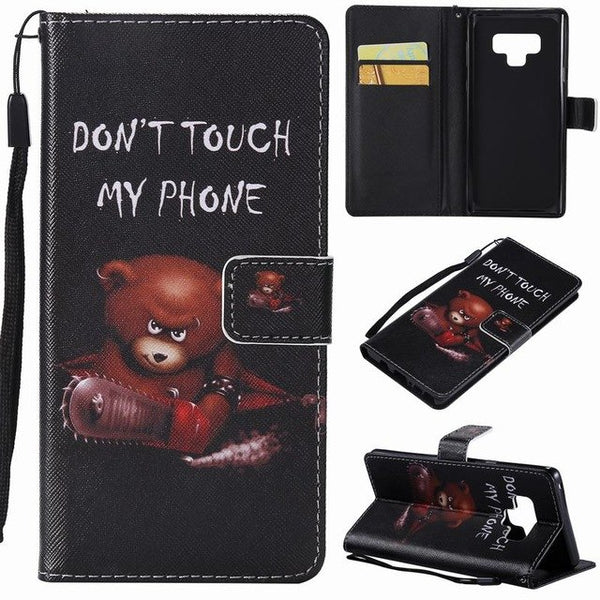 975-Luxury Leather Wallet Case For Samsung Note 9