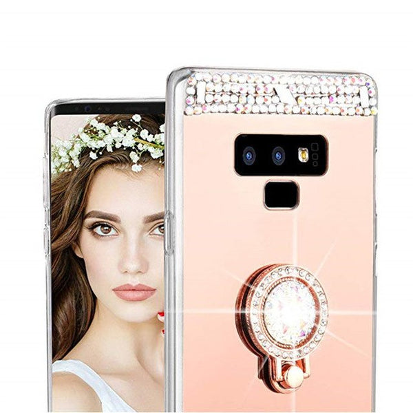 976-Ring Holder Mirror Bling Case For Samsung Note 9