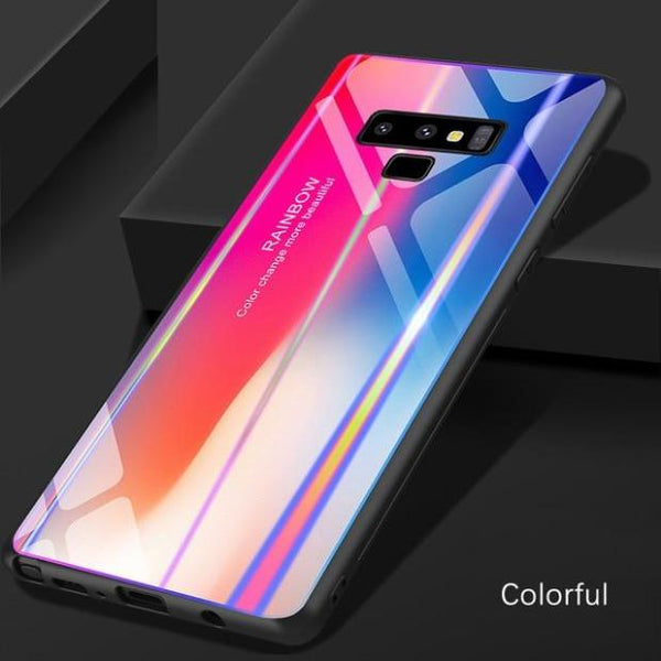 997-Gradient Colorful Tempered Glass Case For Samsung Note 9