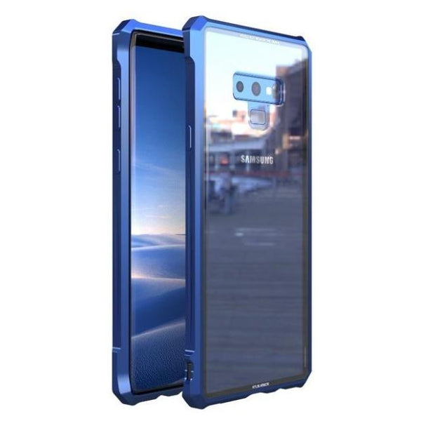1012-Aircraft Assembled Aluminum Metal Frame + Tempered Glass Case For Samsung Note 9