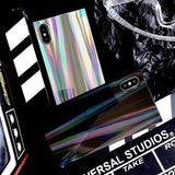 1070-Laser Rainbow Shining Square Phone case For iPhone