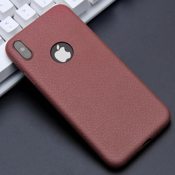 1062-Ultra Thin Leather Skin Soft TPU Silicone Case For iPhone