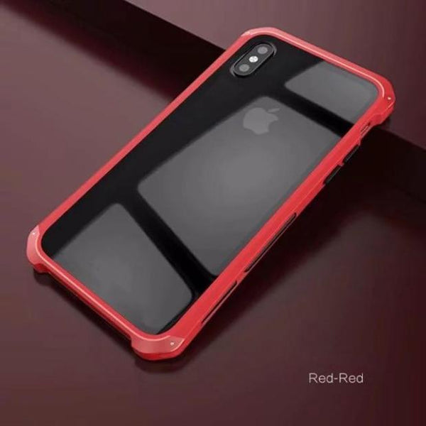 1072-Anti-scratch Transparent Glass+TPU+Metal Case For iPhone