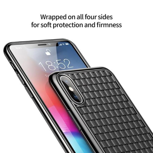 1034-Grid Weave Soft Silicone TPU Case For iPhone
