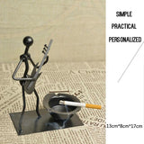 Black Practical Durable METTLE Metal Ashtray Retro Style