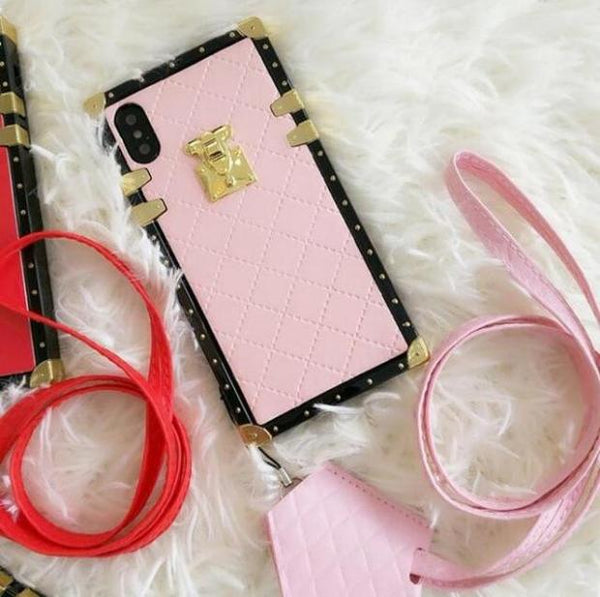 1073-Soft PU Case With Strap Leather For iPhone
