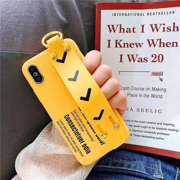 1071-Simple Yellow Wrist Strap Case For iPhone