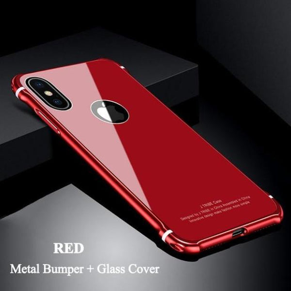 1051-Luxury Metal Glass Bumper Case For iPhone