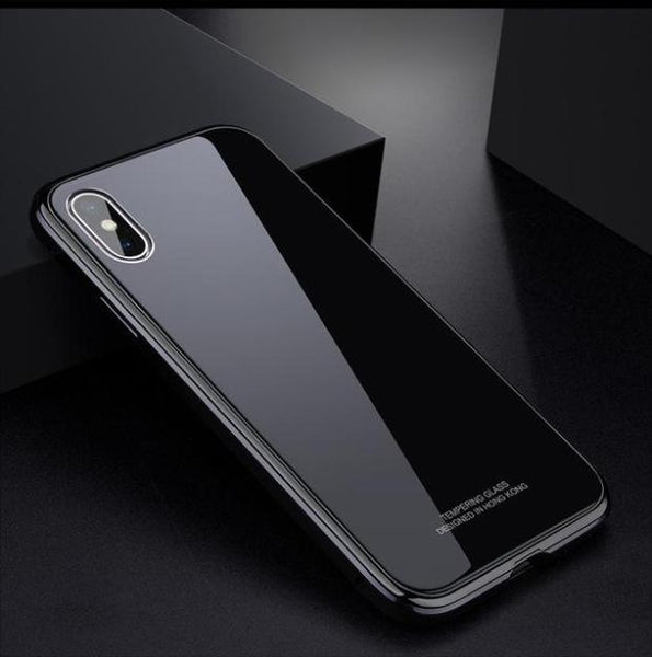 1057-Metal Frame+ Rigid Glass PC Case For iPhone