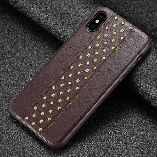 1094-Luxury Silicone Hand Pasted Leather Metal Rivets Case For iPhone