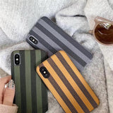 1113-Vintage Strip Cloth Texture Case For iPhone