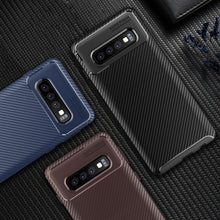 810081-Soft Silicon Back Cover Carbon Fiber TPU Shockproof Case For Galaxy S9/S9+/S10/S10+/S10e