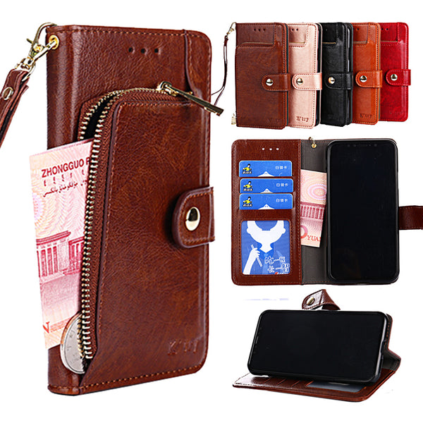810082-Luxury Zipper Wallet Leather Case For Huawei P30 P20 Pro