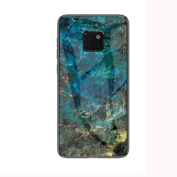 Marble Grain Tempered Glass Protective Huawei Case