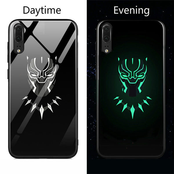 810088-Marvel Venom Batman Superman Spiderman Luminous Glass Case For Huawei