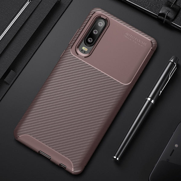 810152-Carbon Fiber Shockproof TPU Back Cover Case For Huawei