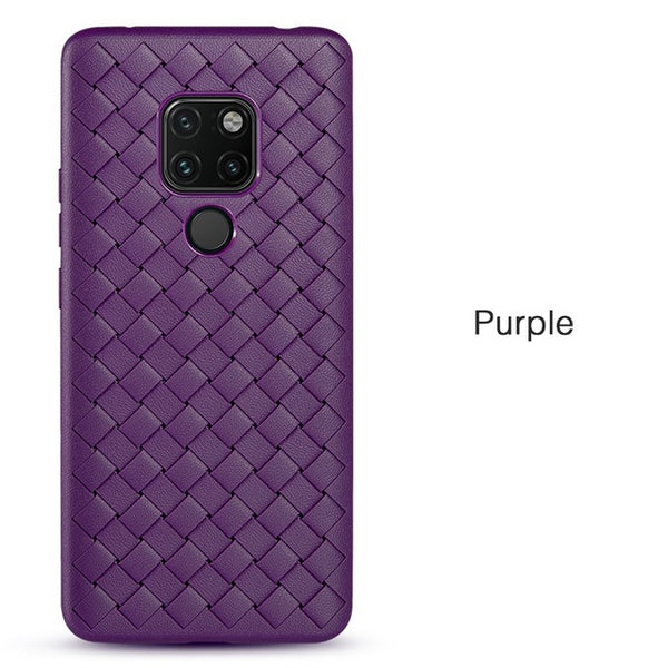 Ultra Thin Soft Woven Grid Leather Huawei Phone Case