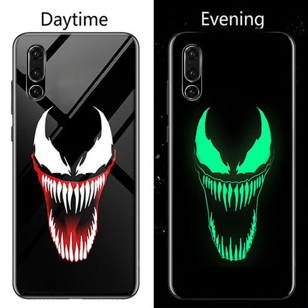 810089-Coque Marvel Venom Deadpool Luminous Glass Phone Case For Huawei
