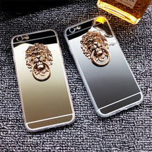 810108-Retro 3D Lion Head Mirror Soft Phone Case For Samsung galaxy S10 Plus S9 Note9