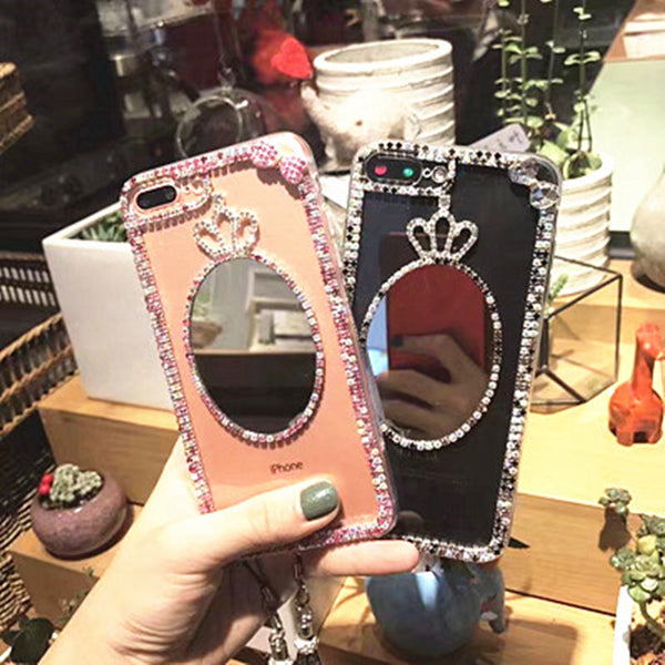 810095-Cute queen crown rhinestone mirror soft phone case cover For Huawei