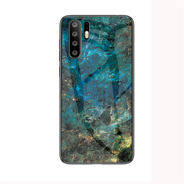 Fashion Marble Tempered Glass Soft Huawei Phone Case