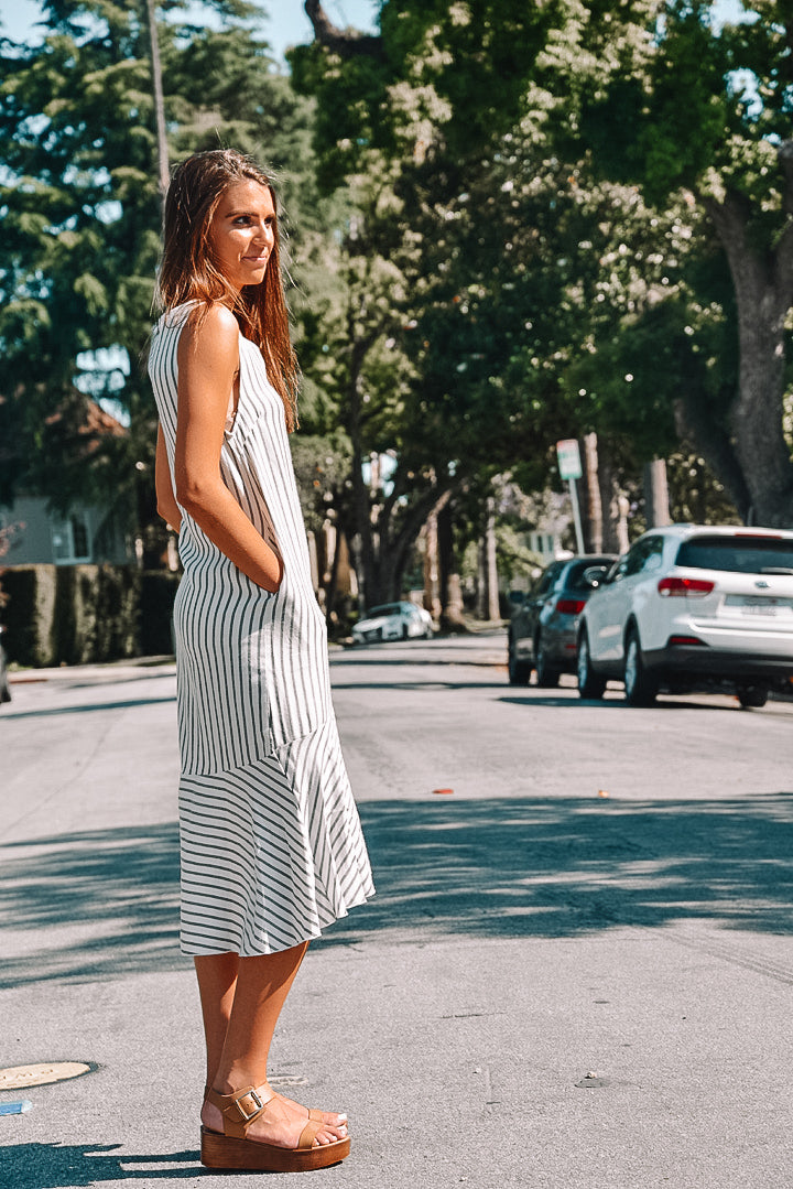 Striped Mid Length Dress