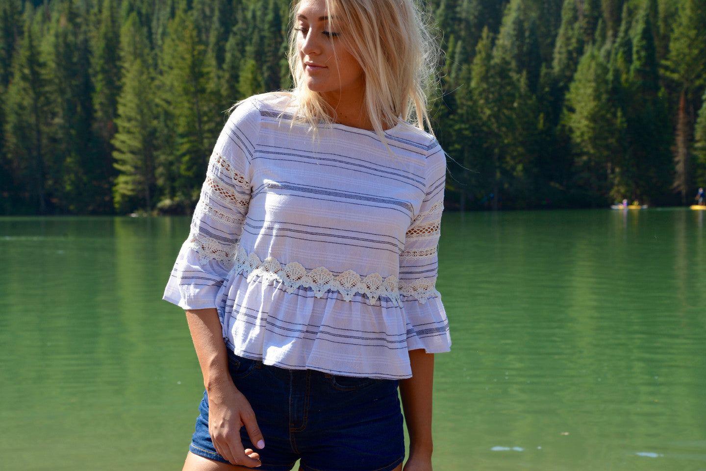 Stripe Crochet Sleeve Top