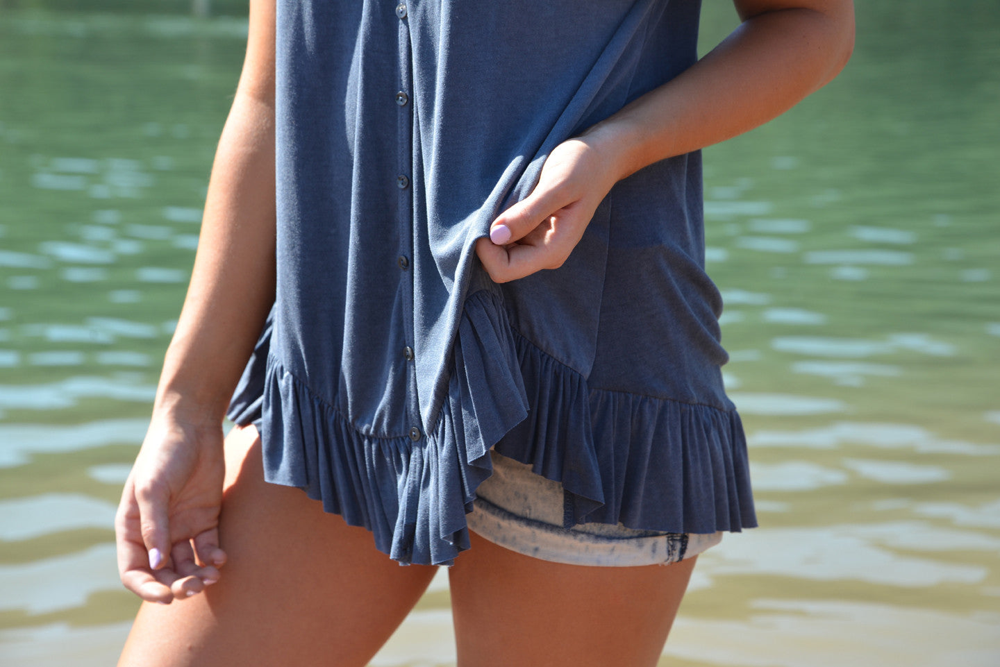 Ruffled Hem Button-Up Top