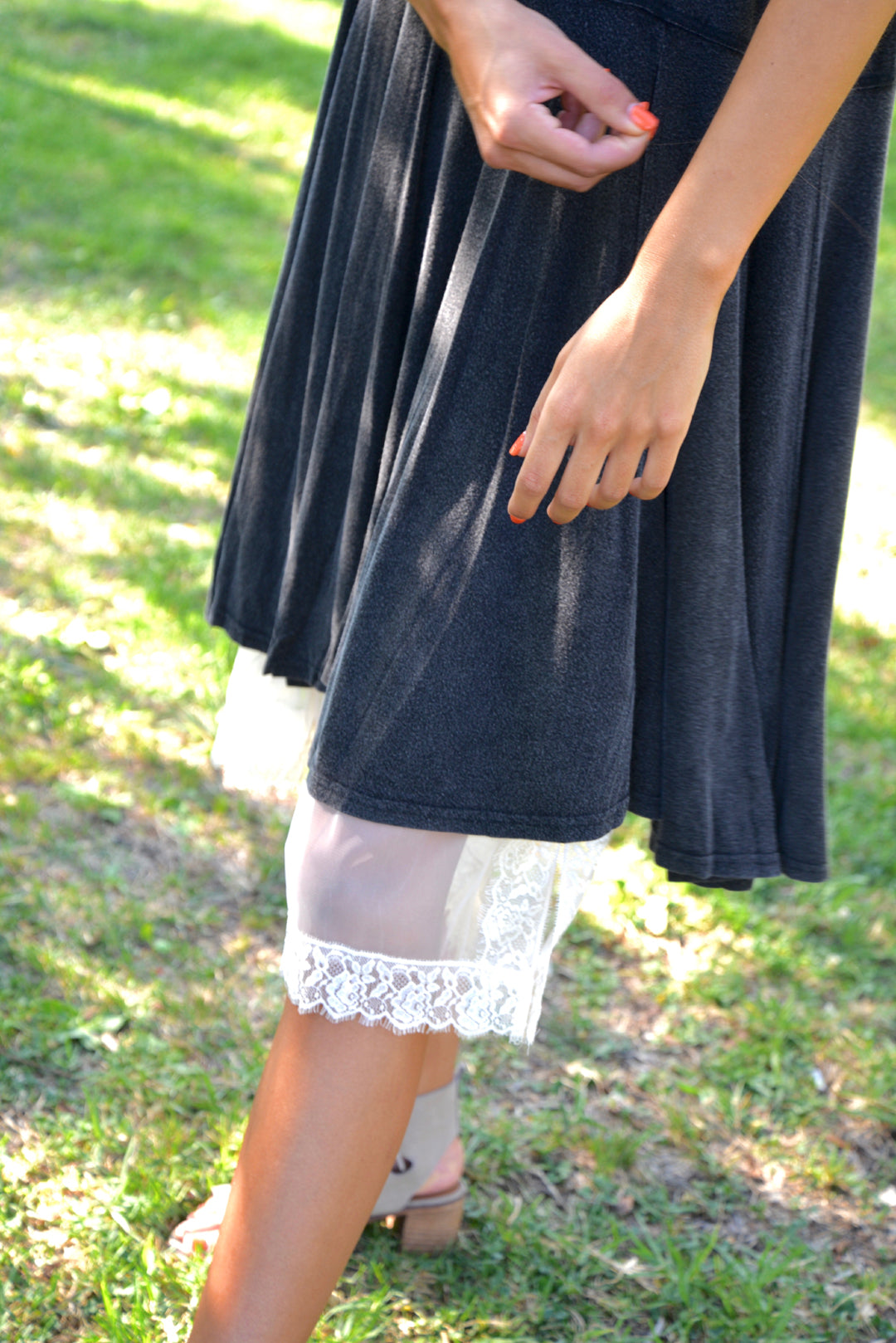 Natural Sheer Mesh Skirt