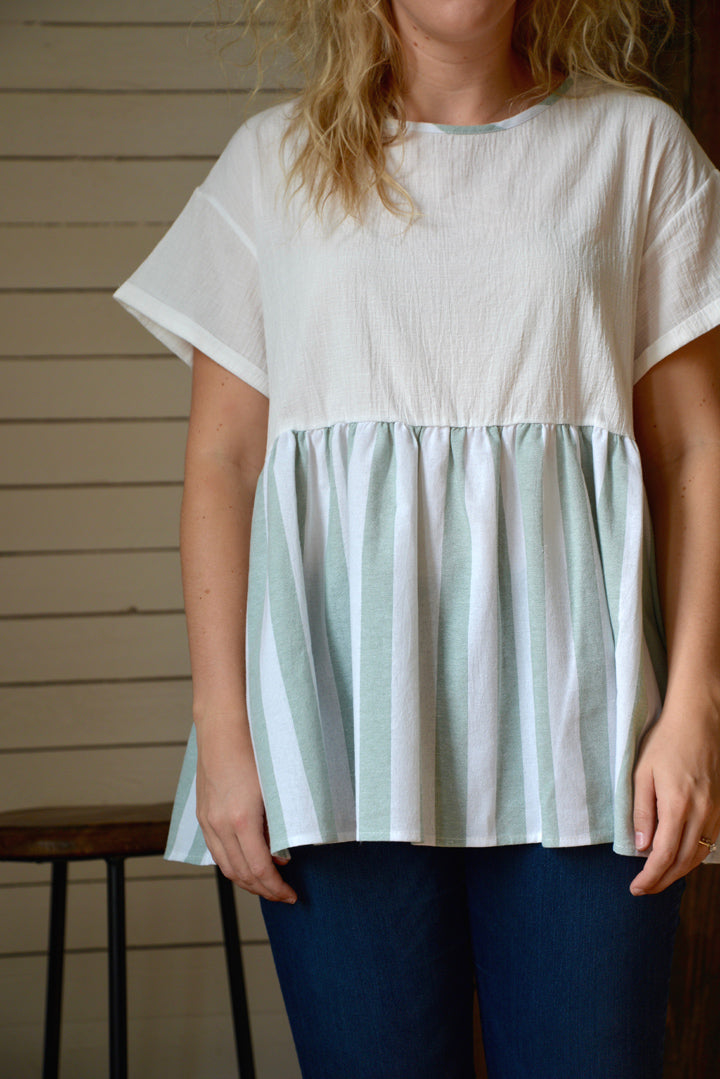 Stripe For Me Sage Top