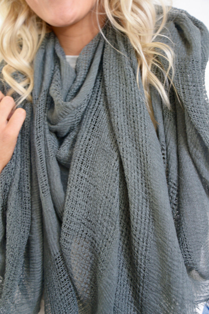 Dusty Gray Blanket Scarf