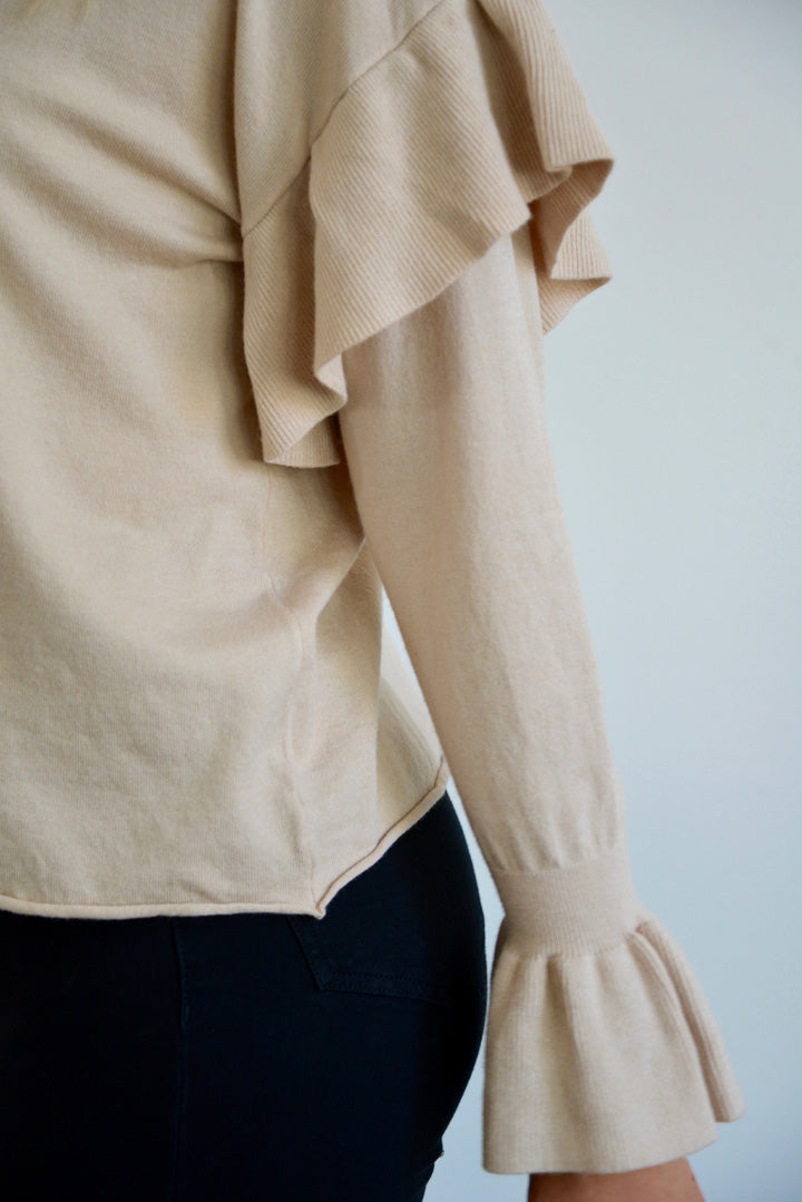 Caramel Latte Ruffle Sweater