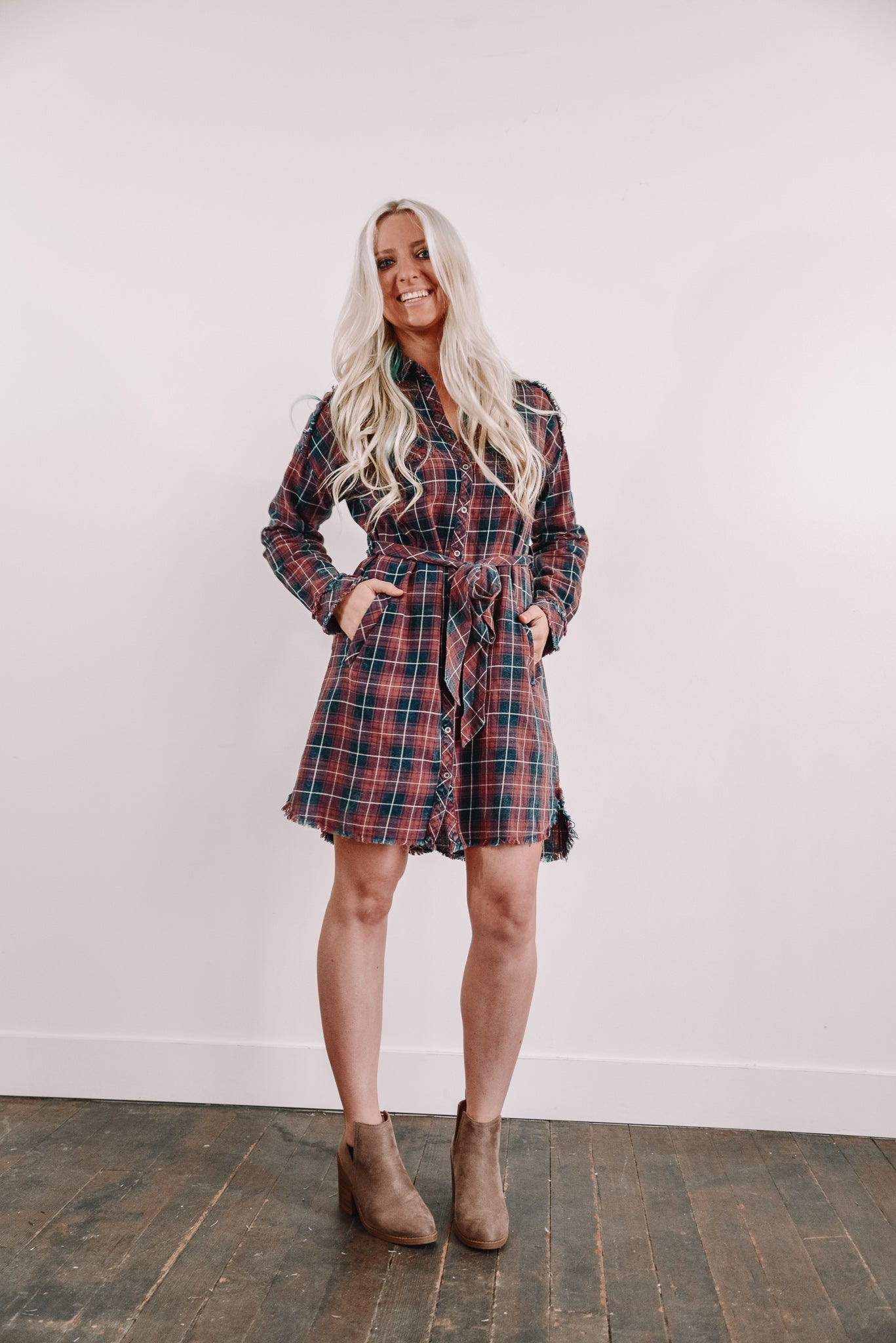 Rags to Riches Plaid Dress