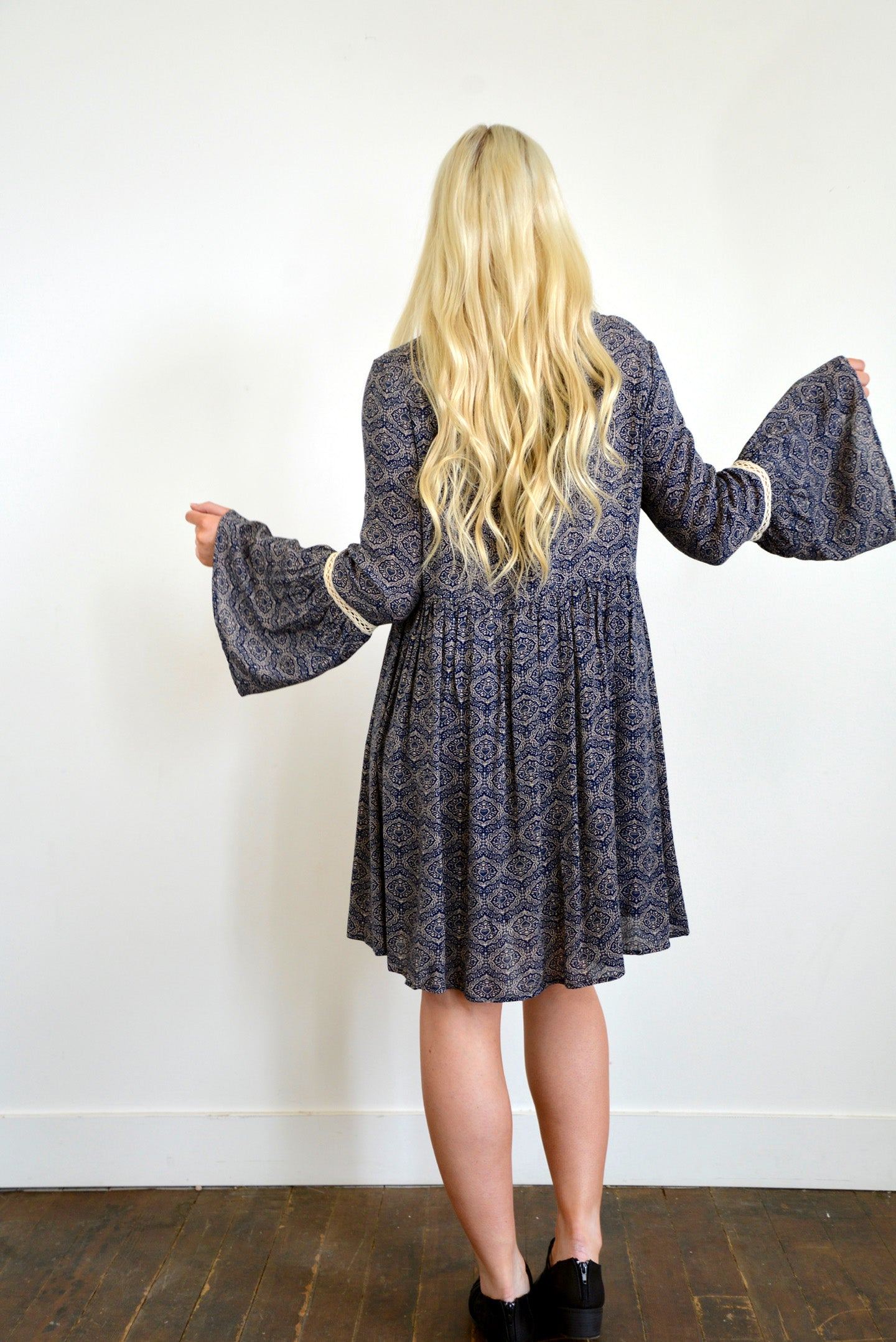 Navy Woven Printed Dress