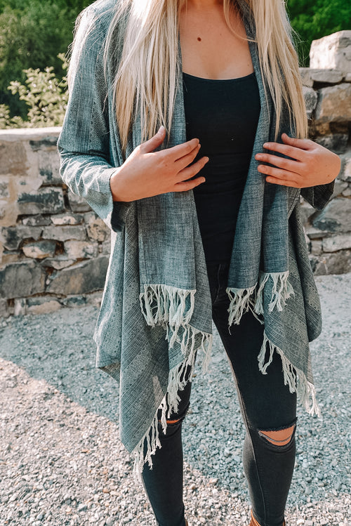Denim Tassel Cardigan