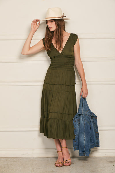 Smocked Dress 100% Recycled Polyester - Olive
