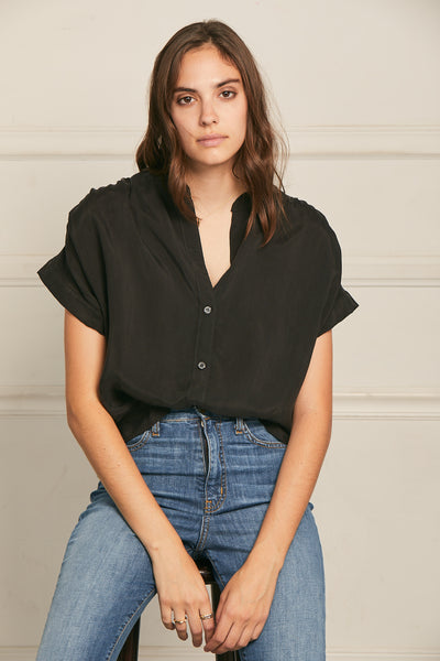 Short Sleeve Washed Cupro Top Black
