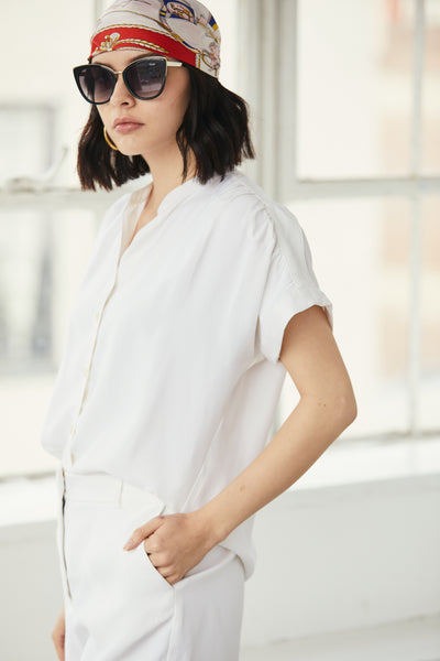 Short Sleeve Washed Cupro Top White