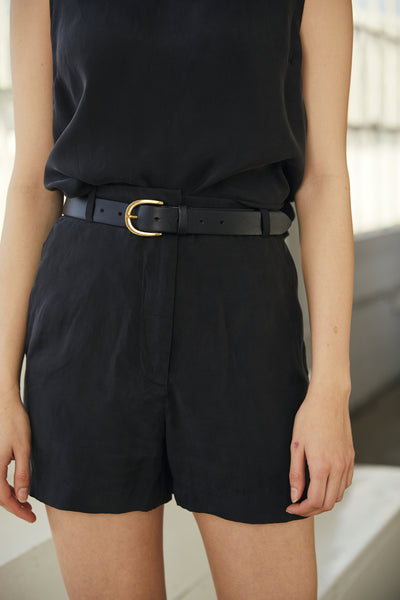 Trouser Short 100% Washed Cupro- Black