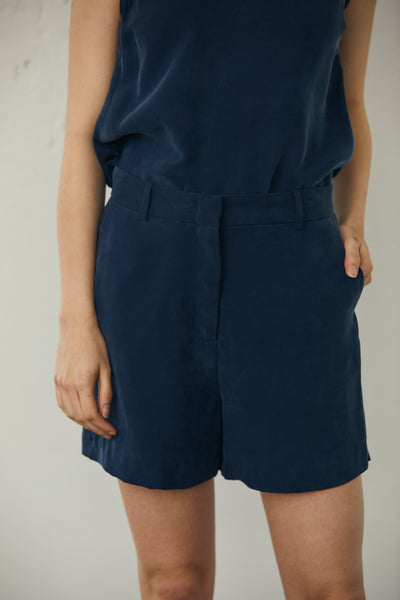 Trouser Short 100% Washed Cupro- Navy